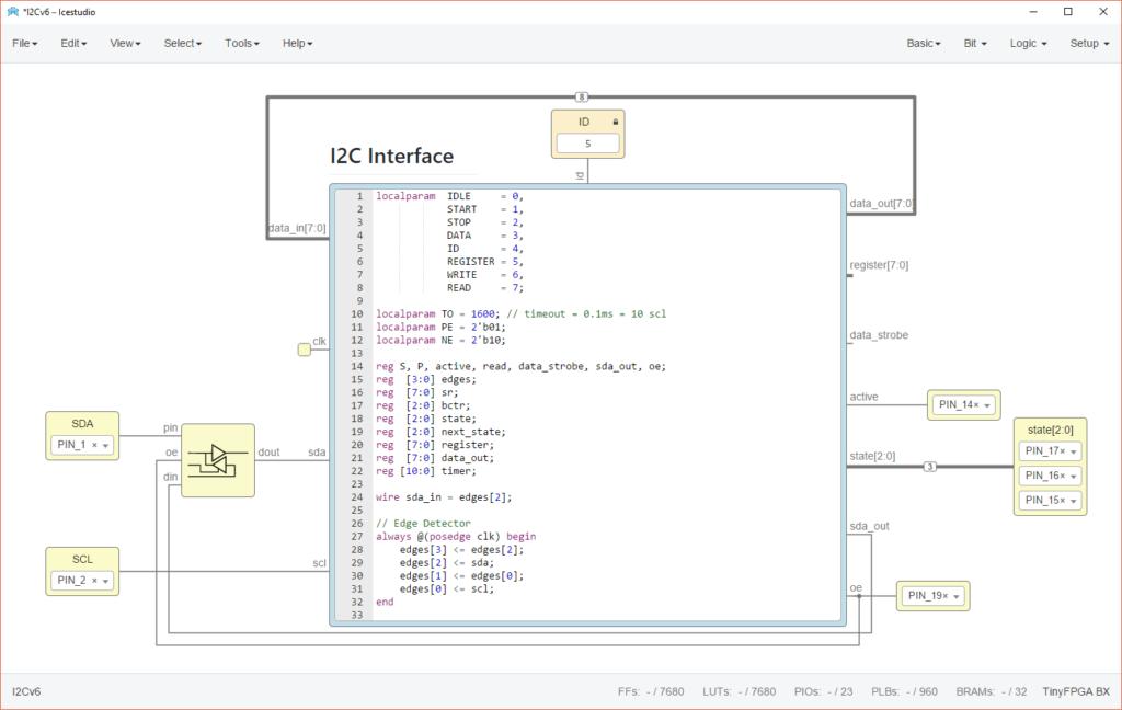 Icestudio design of I2C slave